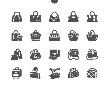 Bags Well-crafted Pixel Perfect Vector Solid Icons 30 2x Grid for Web Graphics and Apps. Simple Minimal Pictogram Vectores