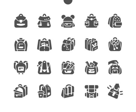 Backpacks Well-crafted Pixel Perfect Vector Solid Icons 30 2x Grid for Web Graphics and Apps. Simple Minimal Pictogram