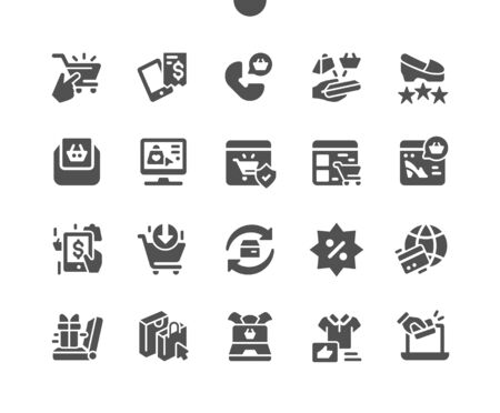 E-commerce Well-crafted Pixel Perfect Vector Solid Icons 30 2x Grid for Web Graphics and Apps. Simple Minimal Pictogram