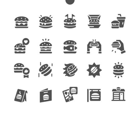 Burger Well-crafted Pixel Perfect Vector Solid Icons 30 2x Grid for Web Graphics and Apps. Simple Minimal Pictogram