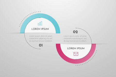 Minimal Business Infographics template with 2 steps, options and marketing icons. Vector infographic with two circle elements. Can be use for presentation. Vectores