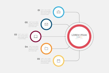 Infographics business process with 5 steps or options circles. Data visualization. Can be used for workflow layout, diagram, banner, web design. Vector illustration.