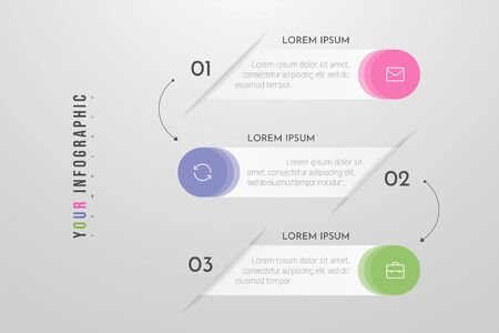 Infographics design and marketing icons with 3 options, steps or processes. Can be used for annual report, flow charts, diagram, presentations, web sites. Vector illustration Vectores