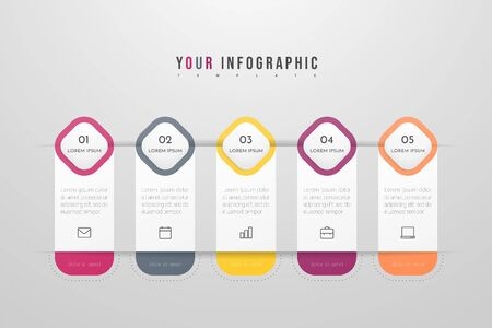 Infographics design vector and marketing icons can be used for workflow layout, diagram, annual report, web design. Business concept with 5 options, steps or processes. Vectores