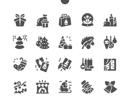 Merry Christmas Well-crafted Pixel Perfect Vector Solid Icons 30 2x Grid for Web Graphics and Apps. Simple Minimal Pictogram