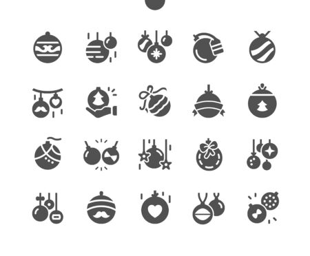Christmas balls Well-crafted Pixel Perfect Vector Solid Icons 30 2x Grid for Web Graphics and Apps. Simple Minimal Pictogram Ilustração