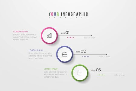 Circle infographic. Concept design with 3 options, steps or processes. Can be used for workflow layout, annual report, flow charts, diagram, presentations, web sites, banners, printed materials.