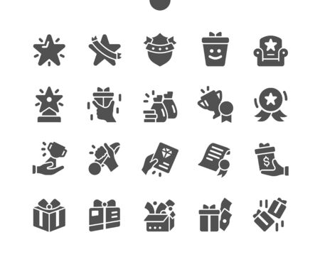 Rewards Well-crafted Pixel Perfect Vector Solid Icons 30 2x Grid for Web Graphics and Apps. Simple Minimal Pictogram Vectores
