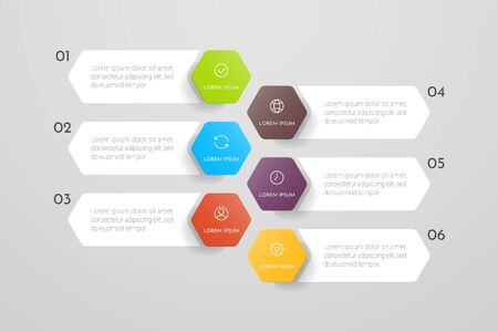 Infographics design and marketing icons with 6 options, steps or processes. Can be used for annual report, flow charts, diagram, presentations, web sites. Vector illustration