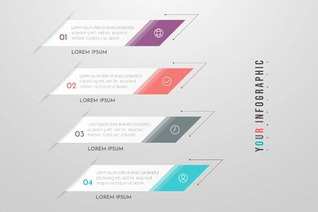 Infographics design and marketing icons with 4 options, steps or processes. Can be used for annual report, flow charts, diagram, presentations, web sites. Vector illustration Vectores