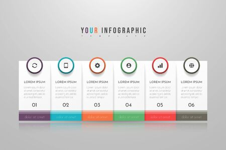 Infographic concept design with 6 options, steps or processes. Can be used for workflow layout, annual report, flow charts, diagram, presentations, web sites, banners, printed materials.