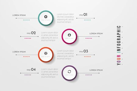 Circle infographic. Concept design with 4 options, steps or processes. Can be used for workflow layout, annual report, flow charts, diagram, presentations, web sites, banners, printed materials. Vectores