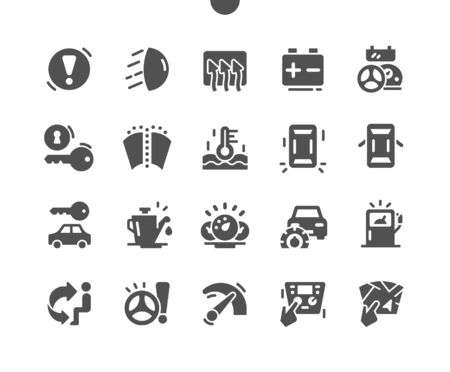 Car dashboard Well-crafted Pixel Perfect Vector Solid Icons 30 2x Grid for Web Graphics and Apps. Simple Minimal Pictogram