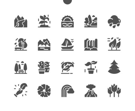 Nature Well-crafted Pixel Perfect Vector Solid Icons 30 2x Grid for Web Graphics and Apps. Simple Minimal Pictogram Vectores