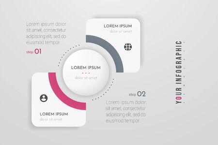 Infographics design vector and marketing icons. Can be used for workflow layout, diagram, annual report, web design. Business concept with 2 options, steps or processes. Vectores