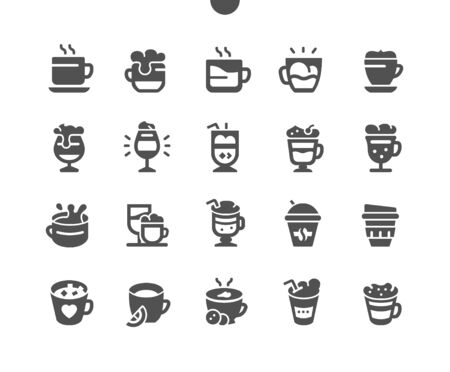 Coffee types Well-crafted Pixel Perfect Vector Solid Icons 30 2x Grid for Web Graphics and Apps. Simple Minimal Pictogram Ilustração