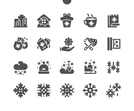 Snowflakes Well-crafted Pixel Perfect Vector Solid Icons 30 2x Grid for Web Graphics and Apps. Simple Minimal Pictogram