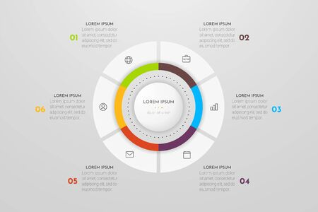 Infographics design vector and marketing icons. Can be used for workflow layout, diagram, annual report, web design. Business concept with 6 options, steps or processes.