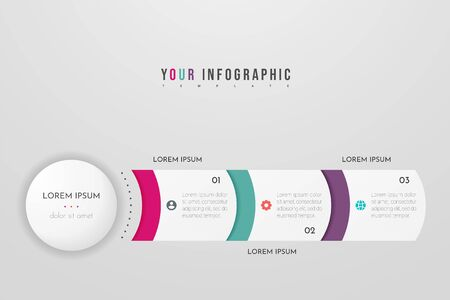Infographics design vector and marketing icons. Can be used for workflow layout, diagram, annual report, web design. Business concept with 3 options, steps or processes. Vectores