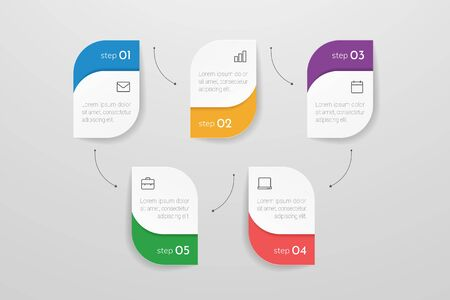 Modern vector infographic with 5 steps or processes elements. Business concept timeline