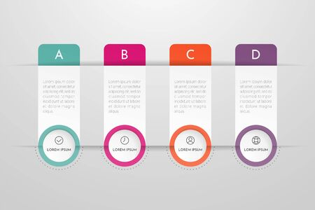 Infographics design vector and marketing icons can be used for workflow layout, diagram, annual report, web design. Business concept with 4 options, steps or processes. Vectores