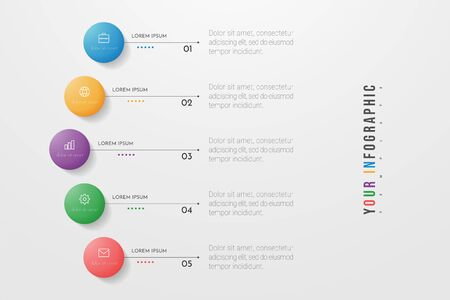 Circle infographic. Concept design with 5 options, steps or processes. Can be used for workflow layout, annual report, flow charts, diagram, presentations, web sites, banners, printed materials.