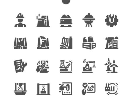 Industry Well-crafted Pixel Perfect Vector Solid Icons 30 2x Grid for Web Graphics and Apps. Simple Minimal Pictogram Vectores