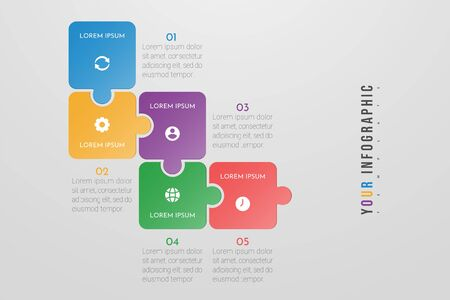 Puzzle infographic concept design with 5 options or steps. Can be used for brochure, business, web design, annual report, flow charts, diagram, presentations. Vectores