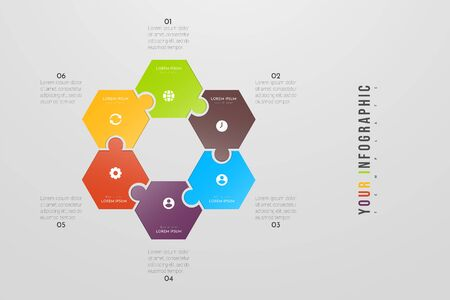 Puzzle infographic concept design with 6 options or steps. Can be used for brochure, business, web design, annual report, flow charts, diagram, presentations. Vectores