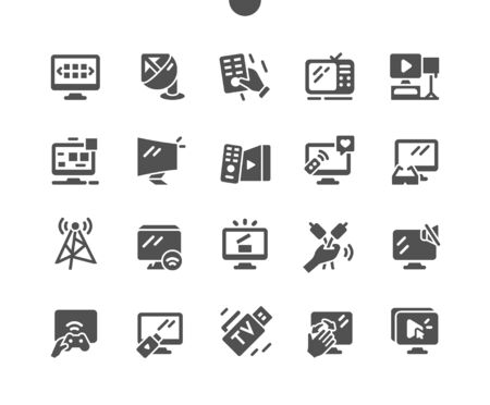 TV Well-crafted Pixel Perfect Vector Solid Icons 30 2x Grid for Web Graphics and Apps. Simple Minimal Pictogram Vectores