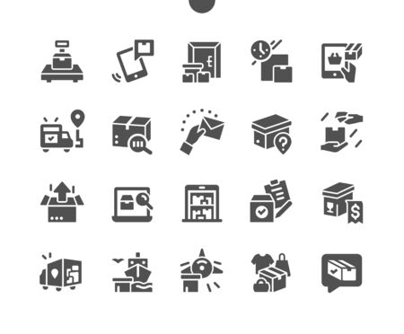 Delivery Well-crafted Pixel Perfect Vector Solid Icons 30 2x Grid for Web Graphics and Apps. Simple Minimal Pictogram Ilustração