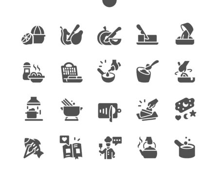 Cooking 2 Well-crafted Pixel Perfect Vector Solid Icons 30 2x Grid for Web Graphics and Apps. Simple Minimal Pictogram Ilustração