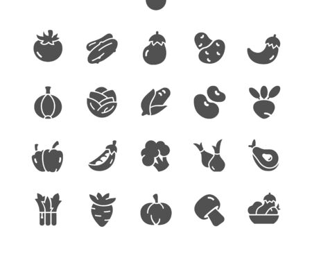 Vegetables Well-crafted Pixel Perfect Vector Solid Icons 30 2x Grid for Web Graphics and Apps. Simple Minimal Pictogram