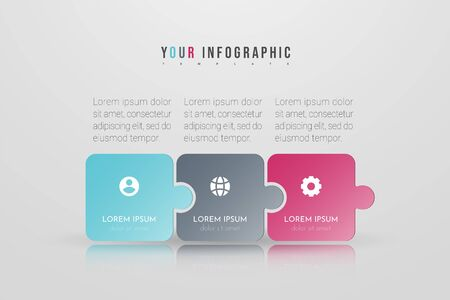 Puzzle infographic concept design with 3 options or steps. Can be used for brochure, business, web design, annual report, flow charts, diagram, presentations.