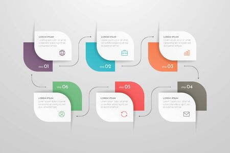 Modern vector infographic with 6 steps or processes elements. Business concept timeline