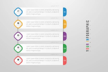 Infographics design vector and marketing icons can be used for workflow layout, diagram, annual report, web design. Business concept with 5 options, steps or processes. Ilustração
