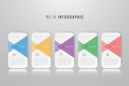 Infographic concept design with 5 options, steps or processes. Can be used for workflow layout, annual report, flow charts, diagram, presentations, web sites, banners, printed materials.