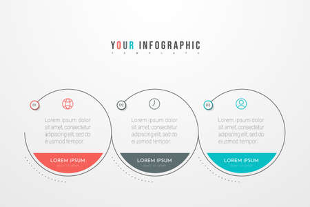 Minimal Business Infographics template with 3 steps, options and marketing icons. Vector infographic with three circle elements. Can be use for presentation.