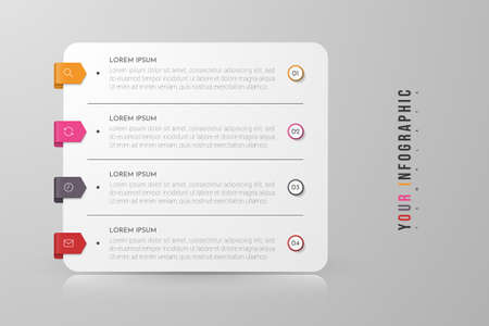 Infographic concept design with 4 options, steps or processes. Can be used for workflow layout, annual report, flow charts, diagram, presentations, web sites, banners, printed materials.