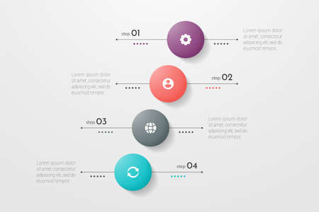 Circle infographic. Concept design with 4 options, steps or processes. Can be used for workflow layout, annual report, flow charts, diagram, presentations, web sites, banners, printed materials. Ilustração
