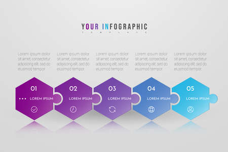 Puzzle infographic concept design with 5 options or steps. Can be used for brochure, business, web design, annual report, flow charts, diagram, presentations. Ilustração