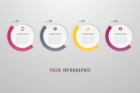 Minimal Business Infographics template with 4 steps, options and marketing icons. Vector infographic with four circle elements. Can be use for presentation.