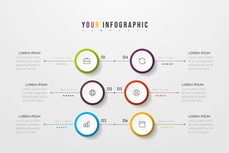 Circle infographic. Concept design with 6 options, steps or processes. Can be used for workflow layout, annual report, flow charts, diagram, presentations, web sites, banners, printed materials.
