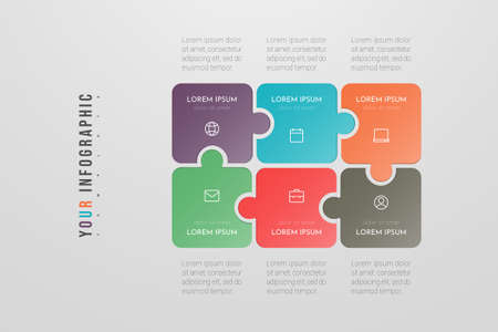 Puzzle infographic concept design with 6 options or steps. Can be used for brochure, business, web design, annual report, flow charts, diagram, presentations. Ilustração