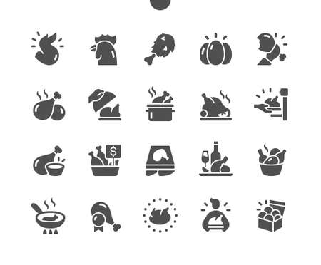 Chicken Well-crafted Pixel Perfect Vector Solid Icons 30 2x Grid for Web Graphics and Apps. Simple Minimal Pictogram Ilustração