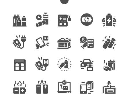 Batteries Well-crafted Pixel Perfect Vector Solid Icons 30 2x Grid for Web Graphics and Apps. Simple Minimal Pictogram