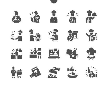 Chef (chief - cooker) Well-crafted Pixel Perfect Vector Solid Icons 30 2x Grid for Web Graphics and Apps. Simple Minimal Pictogram