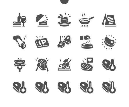 Steak Well-crafted Pixel Perfect Vector Solid Icons 30 2x Grid for Web Graphics and Apps. Simple Minimal Pictogram
