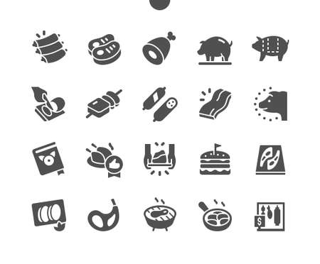Pork Well-crafted Pixel Perfect Vector Solid Icons 30 2x Grid for Web Graphics and Apps. Simple Minimal Pictogram Ilustração