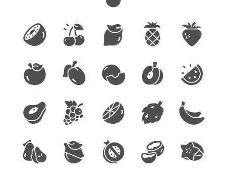 Fruits Well-crafted Pixel Perfect Vector Solid Icons 30 2x Grid for Web Graphics and Apps. Simple Minimal Pictogram